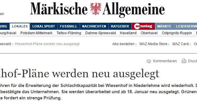 MAZ vom 12.1.17 - Wiesenhof-Pläne werden neu ausgelegt