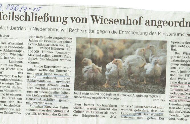 170629_MAZ Teilschließung von Wiesenhof angeordnet
