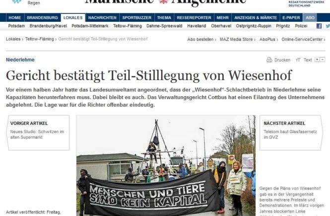 MAZ vom 26.1.2018: Gericht bestätigt Teil-Stilllegung von Wiesenhof