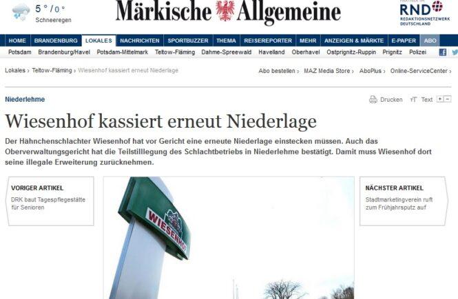 MAZ vom 21.3.2018 - Wiesenhof kassiert erneut Niederlage