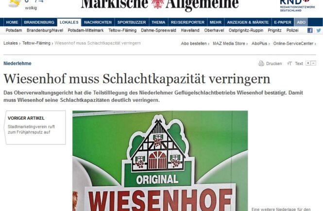 MAZ vom 21.3.2018 - Wiesenhof muss Schlachtkapazität verringern