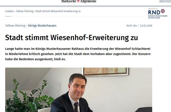MAZ vom 23.3.18 - Stadt stimmt Wiesenhof-Erweiterung zu
