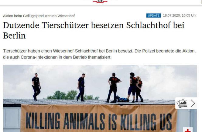 Tagesspiegel - Dutzende Tierschützer besetzen Schlachthof bei Berlin