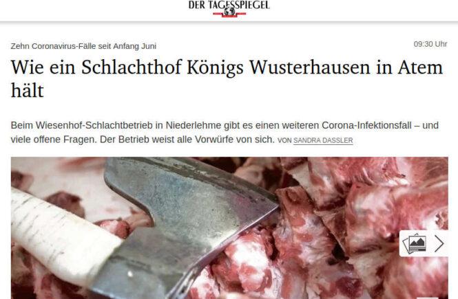 Tagesspiegel - Wie ein Schlachthof Königs Wusterhausen in Atem hält (Corona)